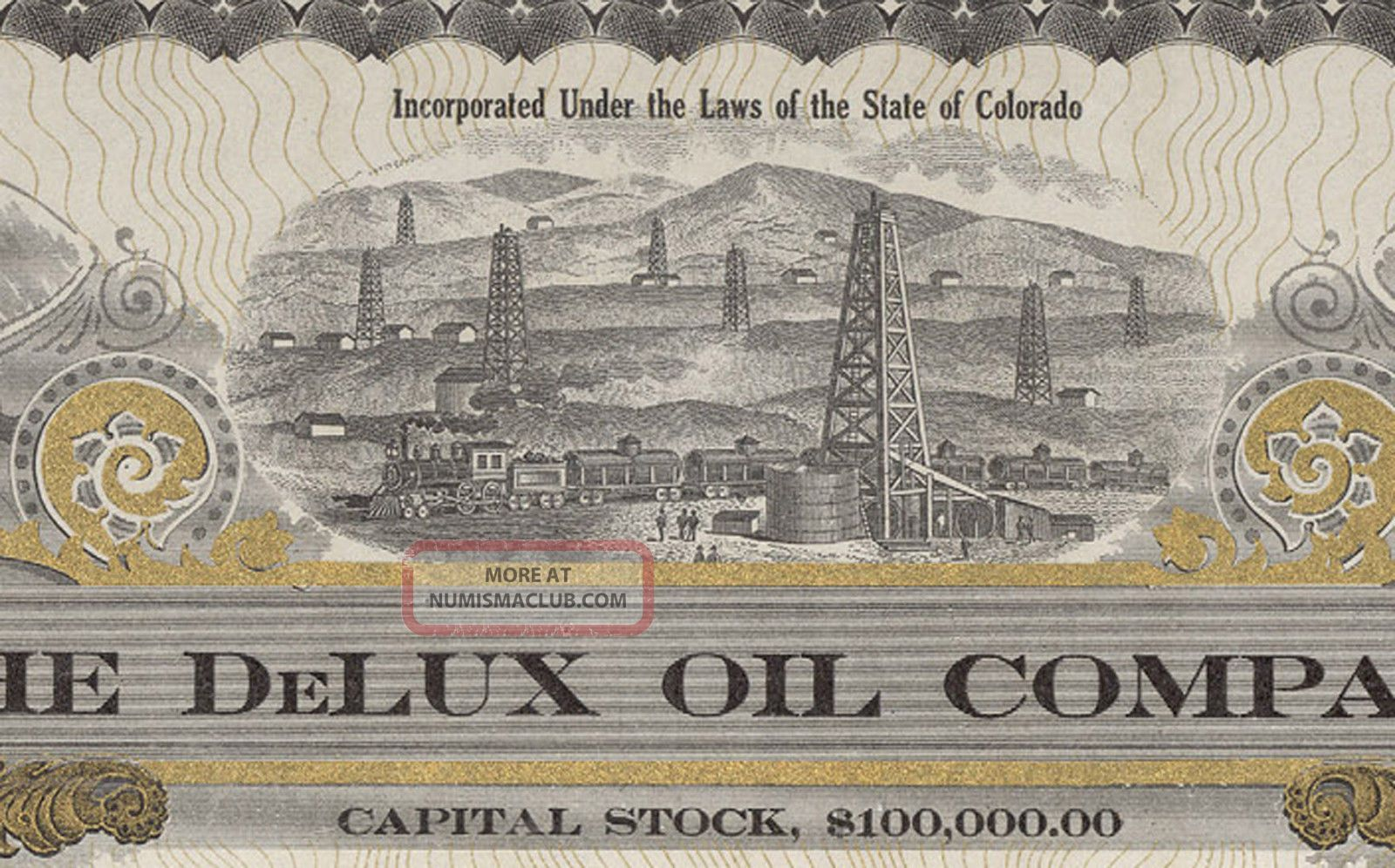 Authentic Old Delux Oil Co Of Colo Stock Certificate,  10c Share Stocks & Bonds, Scripophily photo