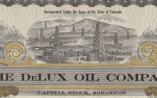 Authentic Old Delux Oil Co Of Colo Stock Certificate,  10c Share photo