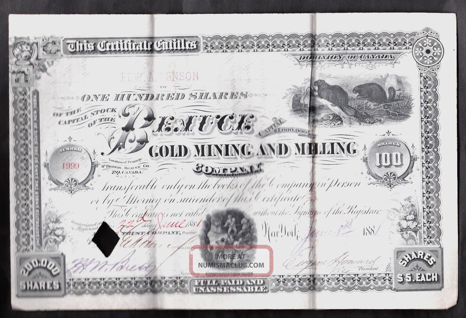 1881 Beauce Gold Mining Stock Certificate Quebec,  Canada Stocks & Bonds, Scripophily photo