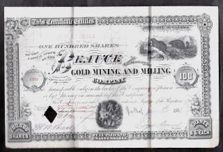 1881 Beauce Gold Mining Stock Certificate Quebec,  Canada photo