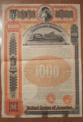 York & Putnam Railroad Bond Stock Certificate photo