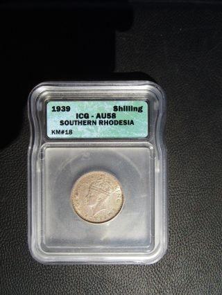 1939 Southern Rhodesia 1 Shilling,  Icg Au 58,  Zimbabwe photo