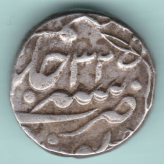 Jaipur State - One Rupee - In The Name Of Shahalam Ii - Ex Rare Silver Coin photo