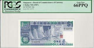 Singapore 1 Dollars (1987) P18a Ship Series Banknote Pcgs 66 Ppq photo