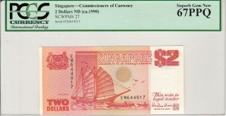 Singapore 2 Dollars (1990) P27 Ship Series Banknote Pcgs 67 Ppq photo