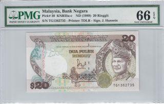 Malaysia 20 Ringgit Rm20 (1989) P30 Tg1362735 Banknote Pmg 66 Epq photo