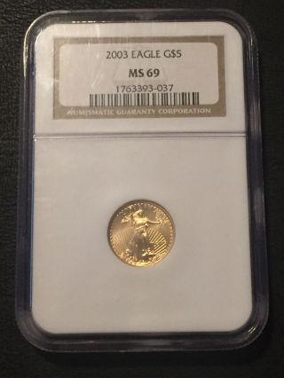 2003 1/10 Oz Gold American Eagle Ms - 69 Ngc photo