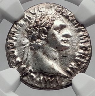 Domitian 92ad Rome Minerva Athena Authentic Ancient Silver Roman Coin Ngc I60194 photo