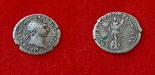 H94: Roman Imperial Silver Coin :trajan (98 - 117).  Denarius.  Rome. photo