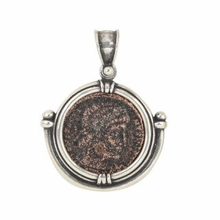 Sterling Silver Ancient Coin Pendant With Authentic Ancient Roman Coin photo