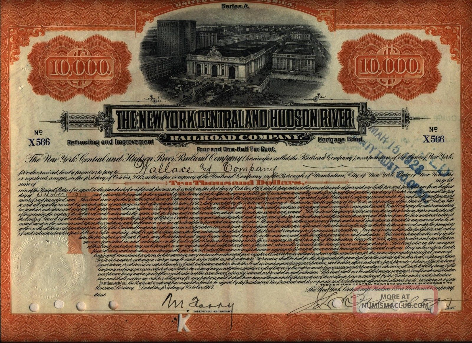 $10,  000 York Central & Hudson River Railroad Bond Stock Certificate A Transportation photo
