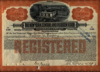 $10,  000 York Central & Hudson River Railroad Bond Stock Certificate A photo