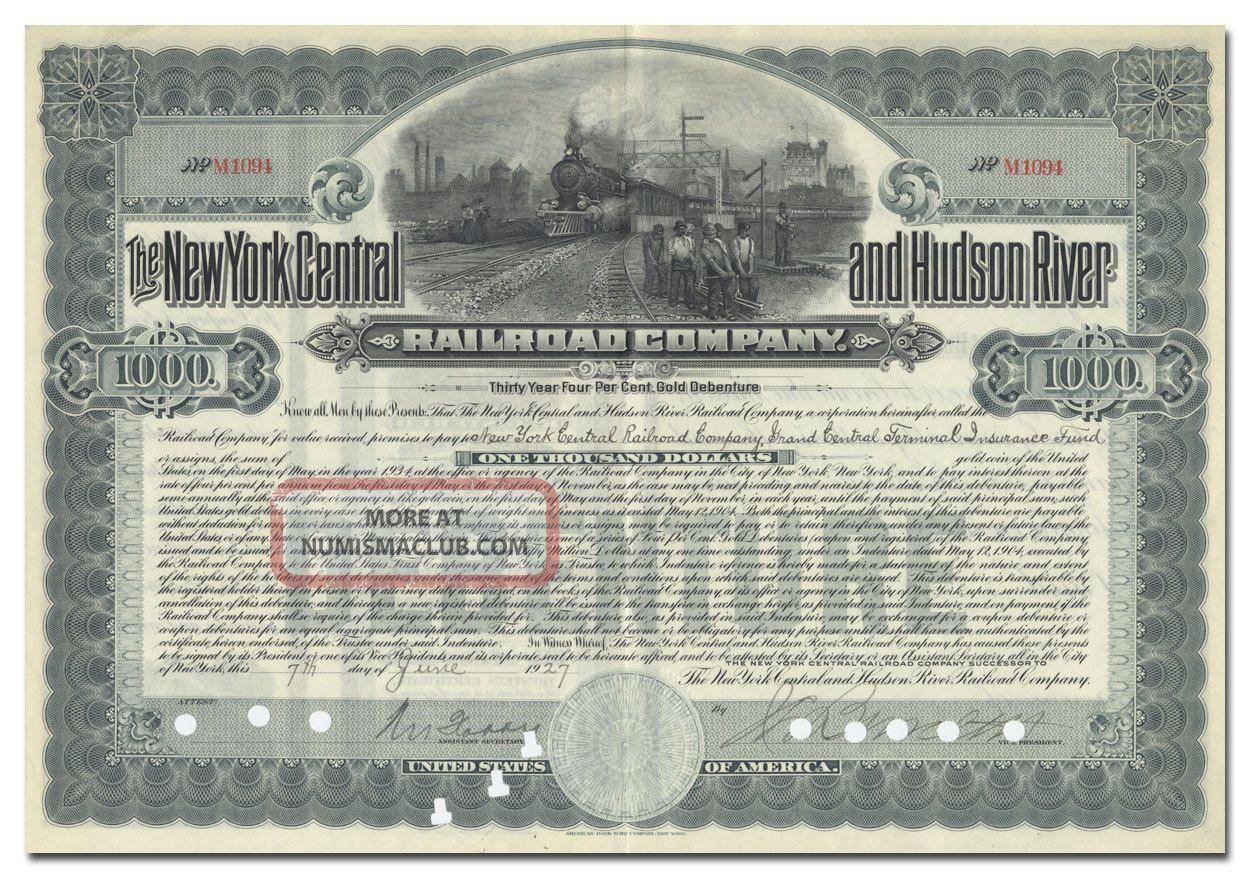 York Central & Hudson River Railroad Company Bond Certificate Transportation photo