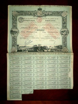 Puerto Rico Compañia De Los Ferrocarriles One 500 Pesetas Bond 1888 G photo