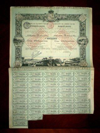 Puerto Rico Compañia De Los Ferrocarriles One 500 Pesetas Bond 1888 G photo