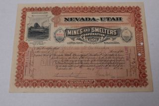 Nevada - Utah Mines And Smelters Coporation - 1907 - Stock Certificate photo