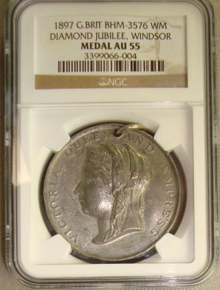 1897 Bhm - 3576 Great Britain Queen Victoria Diamond Jubilee Medal Ngc Au55 photo