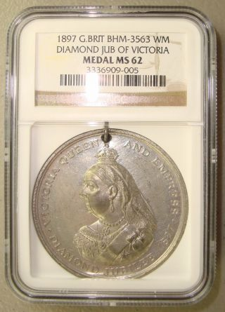 1897 Bhm - 3563 Great Britain Queen Victoria Diamond Jubilee Medal Ngc Ms62 photo
