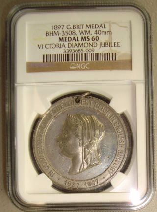1897 Bhm - 3508 Great Britain Queen Victoria Diamond Jubilee Medal Ngc Ms60 photo