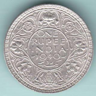 British India - 1940 - King George Vi Emperor - One Rupee - Rare Coin photo