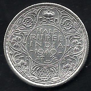 British India - 1940 - King George Vi Emperor - Half Rupee - Rarest Silver Coin photo