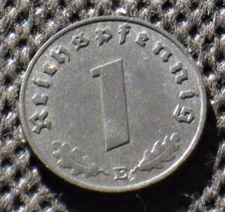 Old Coin Nazi Germany 1 Reichspfennig 1943 E Dresden Swastika World War Ii photo
