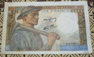1944 French Banknote 10 Francs Vf/ef photo