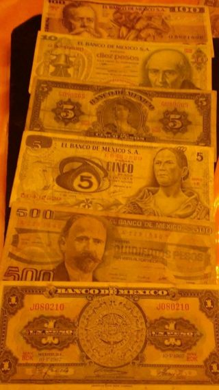Six Mexican Paper Money Bill photo