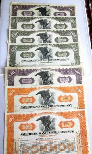 7 Old Stocks American Bank Note Company 1926,  1928,  1930,  1940,  1942.  (2) 1945 photo