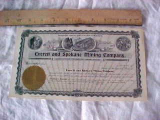 Historic Stock Certificate Everett Spokane Mining Company Fairhaven Wash Blank photo