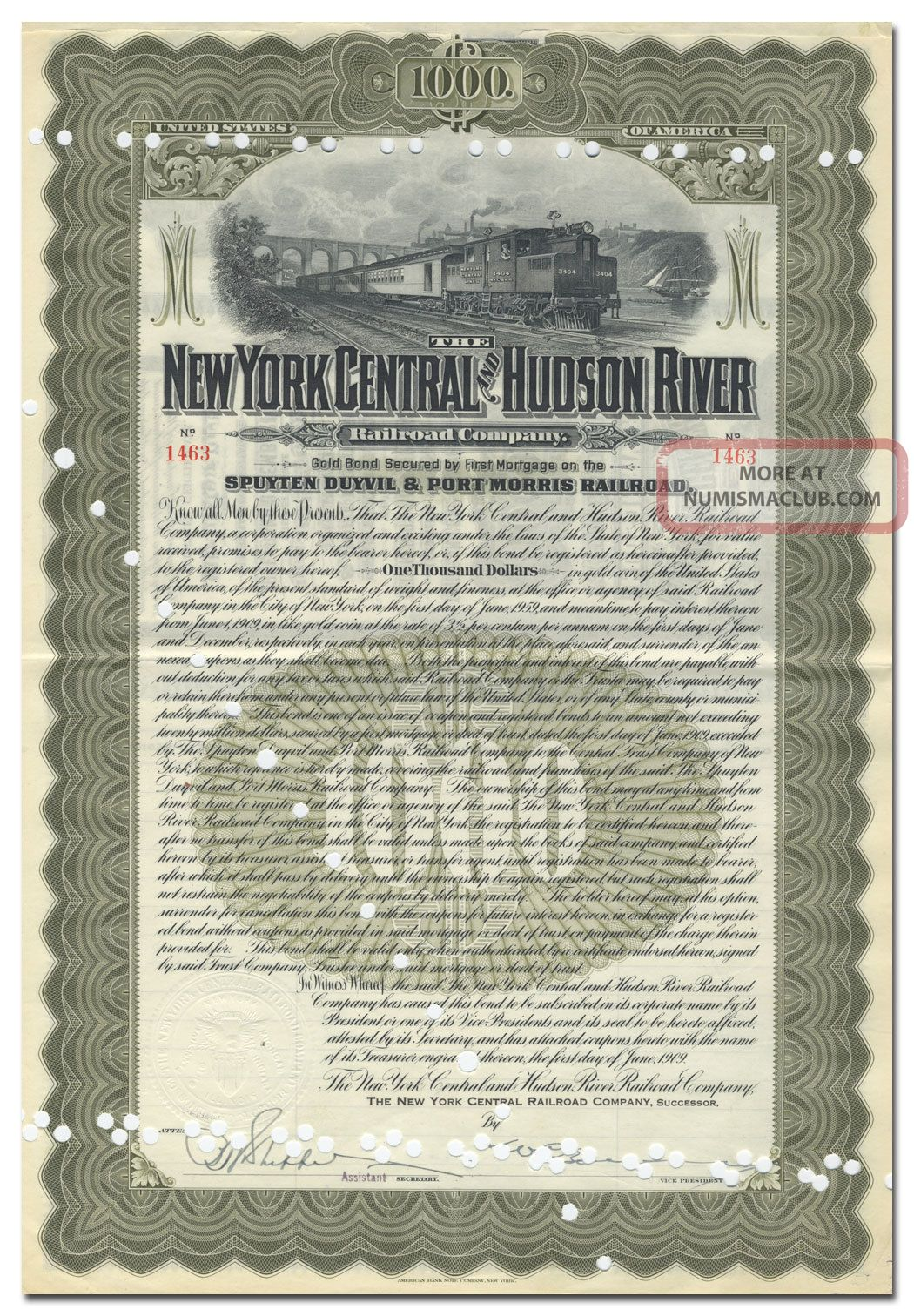 York Central & Hudson River Rr Co.  Bond Certificate (spuyten Duyvil Branch) Transportation photo