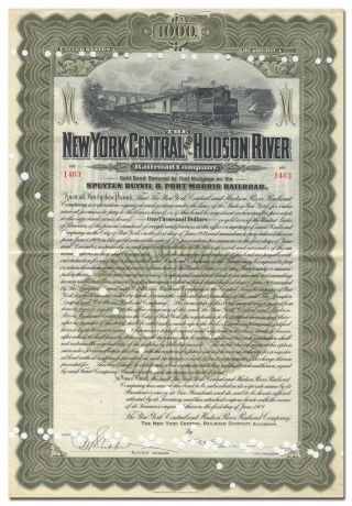 York Central & Hudson River Rr Co.  Bond Certificate (spuyten Duyvil Branch) photo