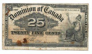1900 Dominion Of Canada Paper Bill 25 Cents.  Britannia Seated.  Sign H Boville photo