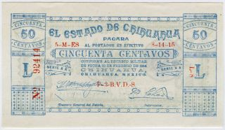 Mexico Chihuahua 1915 Issue 50 Centavos Banknote Crisp Unc.  Pick - S 527. photo