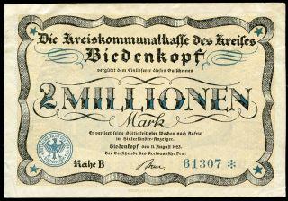 Biedenkopf Kreisausschuß 2 Millionen Mark 11/8/1923 Ef Green Serial Keller 414.  A photo