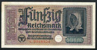 Germany Ww2 50 Reichsmark 1940 - 1945 Series C Aunc photo