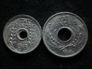 Xd067 - Vietnam Indochine - Aluminum - 1 & 5 Cent 1943s - - photo