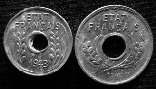 Xd048 - Vietnam Indochine - Aluminum - 1 & 5 Cent 1943s - - photo