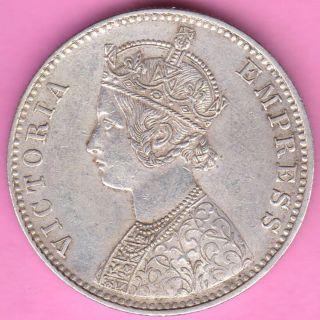 British India - 1892 - Victoria Queen - One Rupee - Rarest Silver Coin - 18 photo