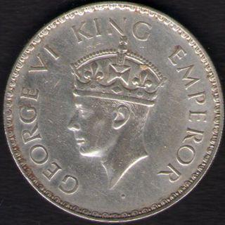 British India - 1941 - George Vi One Rupee Silver Coin Ex - Rare Coin photo
