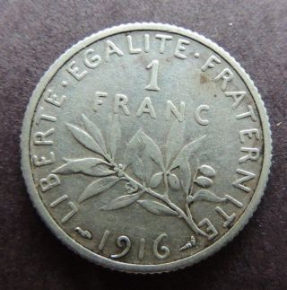 France 1916 Silver 1 Franc Y - 63 Great Coin photo