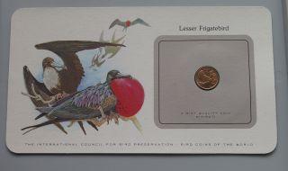 Монеты птица Кирибати 1 центов 1979 малая Фрегат не бывшие в обращении photo