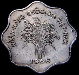 1966 Vietnam 5 Dong Coin Km 9 photo