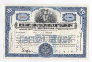 International Telephone And Telegraph Stock Certificate photo