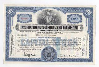 International Telephone And Telegraph Stock Certificate photo