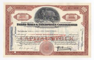 Patino Mines & Enterprises Consolidated Stock Certificate photo