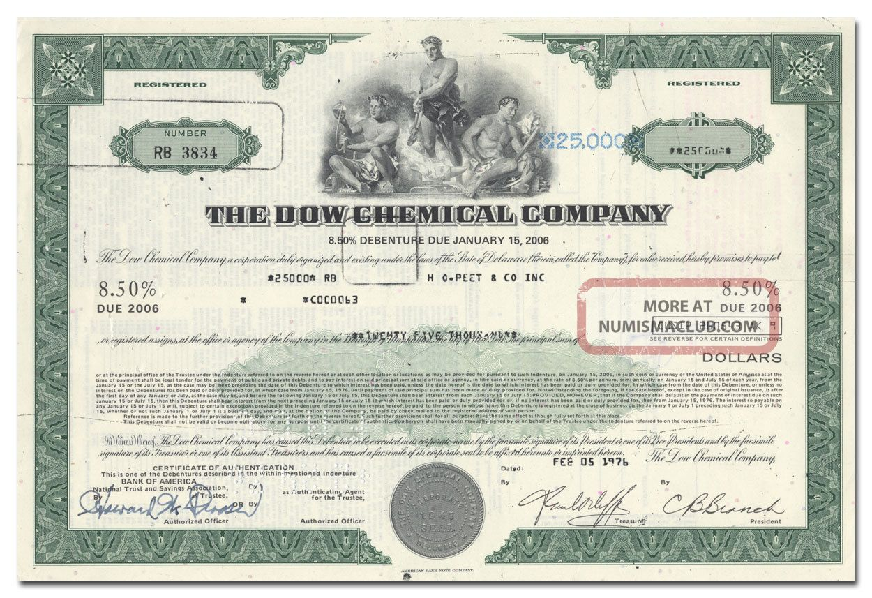Dow Chemical Company Bond Certificate Stocks & Bonds, Scripophily photo