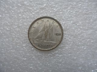 1939 Canada 10 Cents Coin (xf) On Silver photo