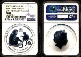 2016 $1 1 Oz Ngc Ms70 Er Silver Australia Year Of The Lunar Monkey W/ Lion Privy photo
