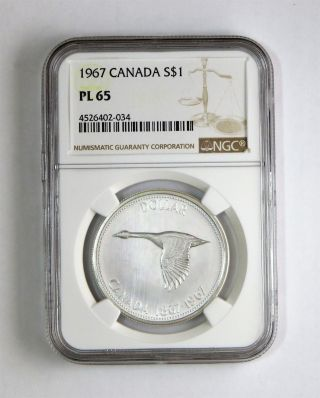 1967 S$1 Canada Silver Dollar Ngc Pl 65 photo